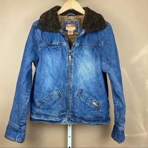 FREE COUNTRY Fur Lined Denim Jean Jacket